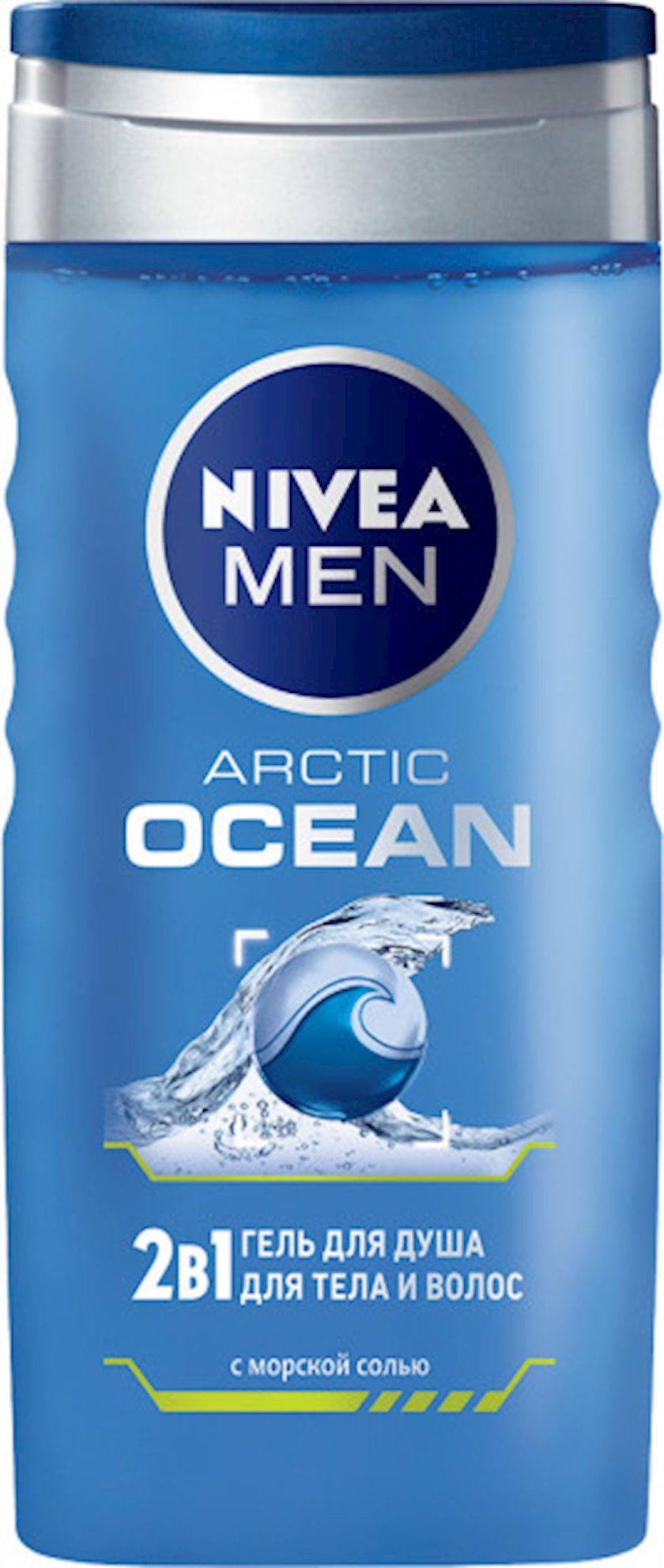 Duş üçün gel Nivea Men 2-si 1-də Arctic Ocean kişilər üçün, bədən və saç üçün dəniz duzu ilə 250 ml