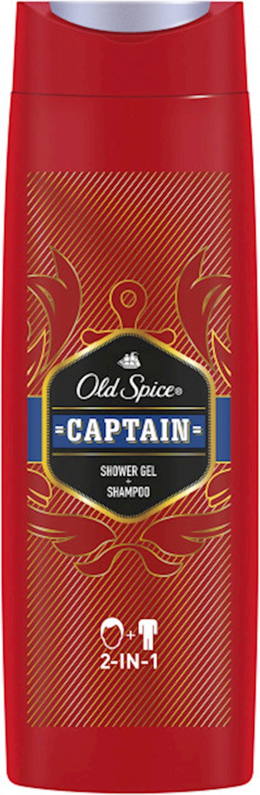 Duş üçün gel və şampun Old Spice 2-si 1-də Captain 400 ml