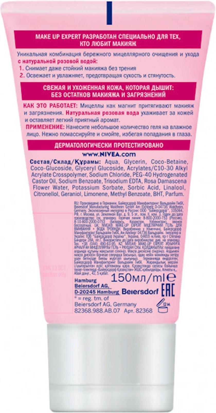 Misellyar gel Nivea up Expert + çəhrayı gül suyu üz və dodaqlar üçün makyaj təmizləyicisi, 150 ml