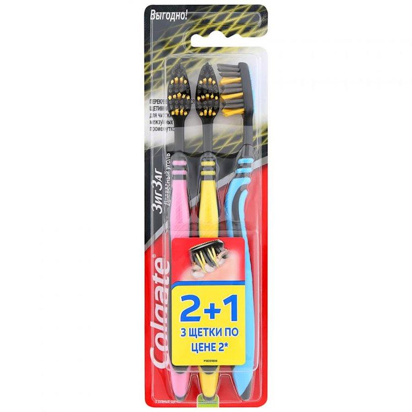 Diş fırçaları Colgate Ziqzaq Ağac kömürü 2+1
