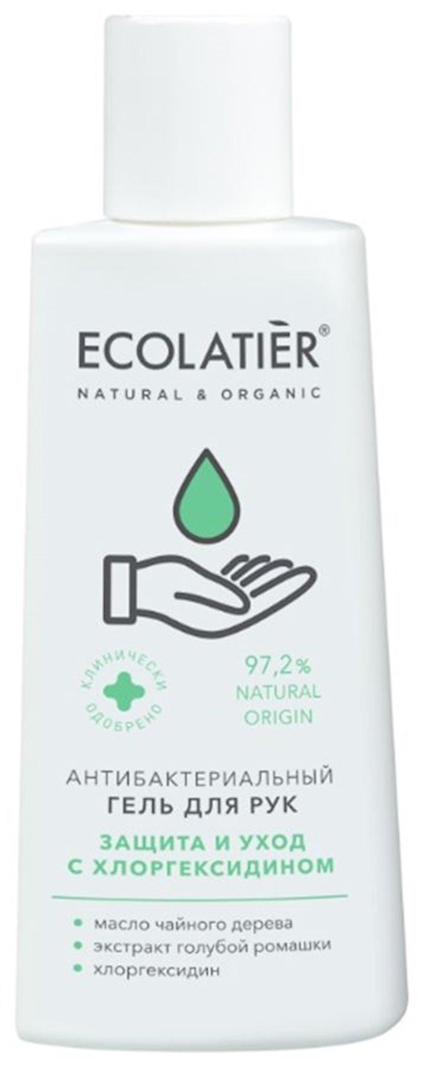 Əllər üçün antibakterial gel Ecolatier xlorqeksidin, çobanyastığı ekstraktı və çay ağacının yağı ilə, 150 ml