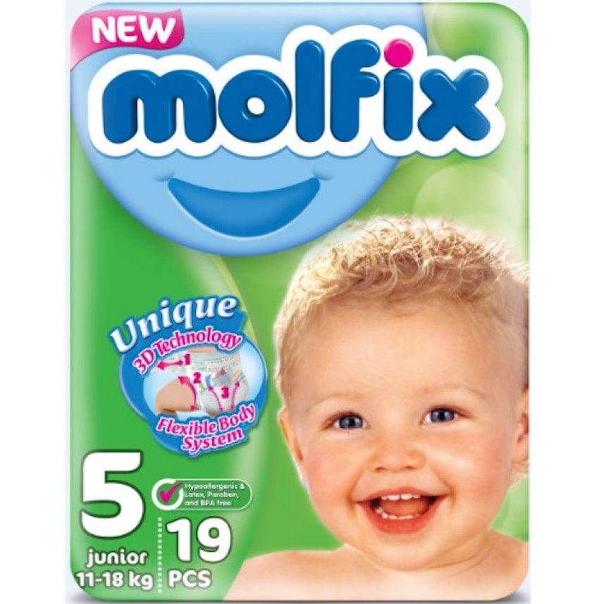 Uşaq bezi Molfix 5, 11-18 kq, 19 əd.
