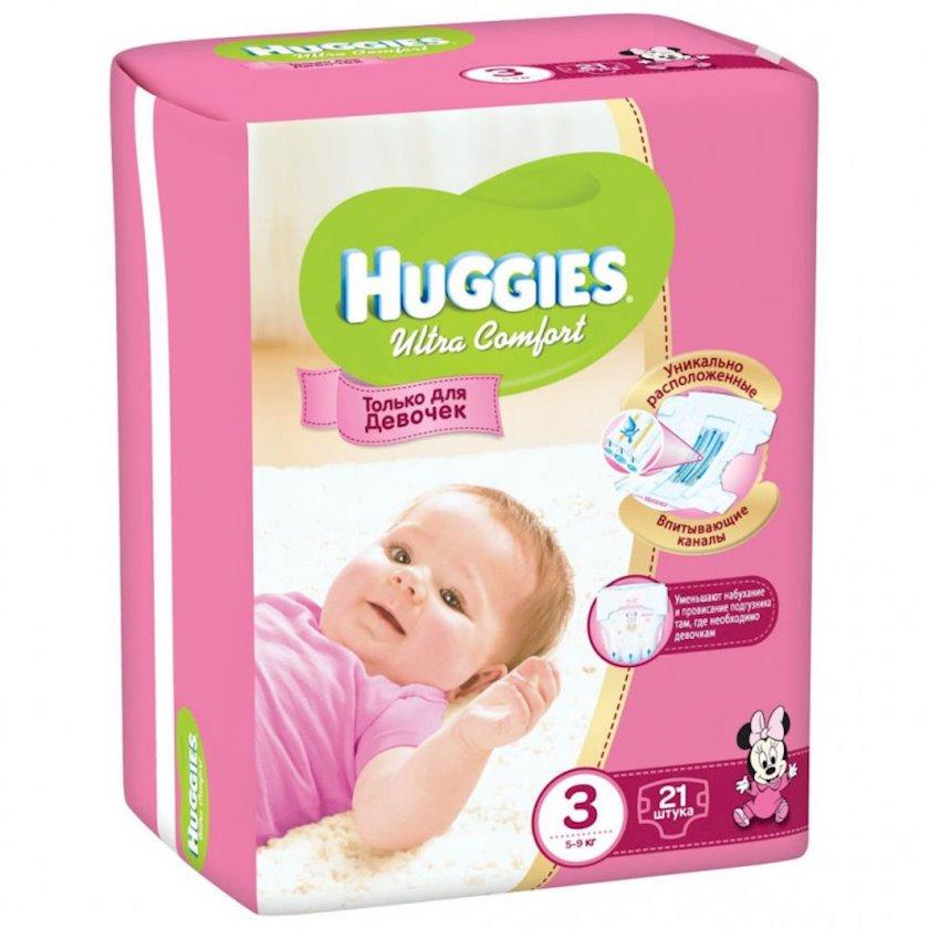 Uşaq bezi Huggies Ultra Comfort 3 Qızlar üçün, 5-9 kq, 21 əd.