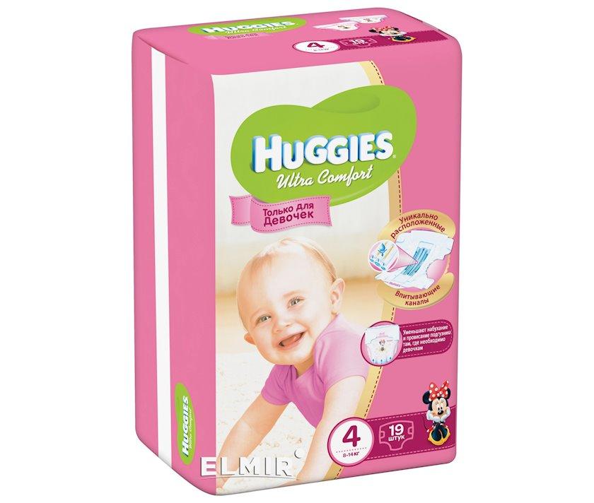 Uşaq bezi Huggies Ultra Comfort Qızlar üçün 4, 8-14 kq, 19 əd.