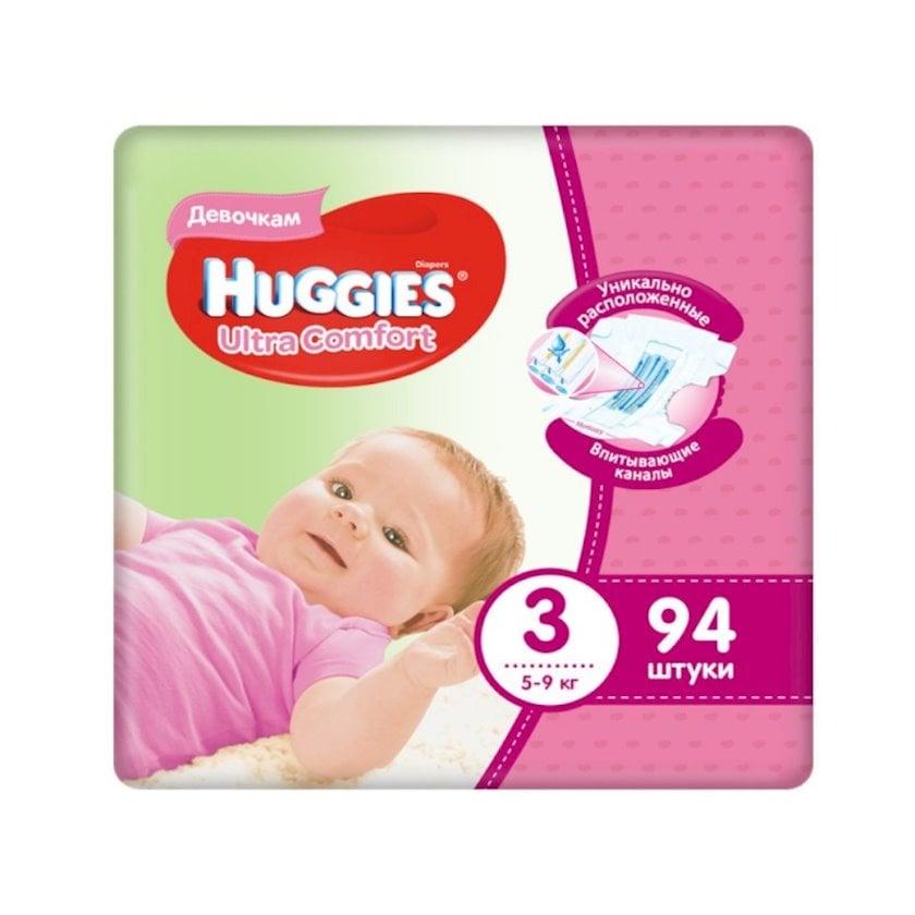 Uşaq bezi Huggies Ultra Comfort 3 qızlar üçün, 5-9 kq, 94 əd.
