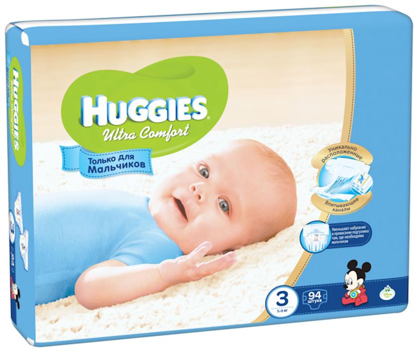 Uşaq bezi Huggies Ultra Comfort Giga 3 oğlanlar üçün, 5-9 kq, 94 əd.