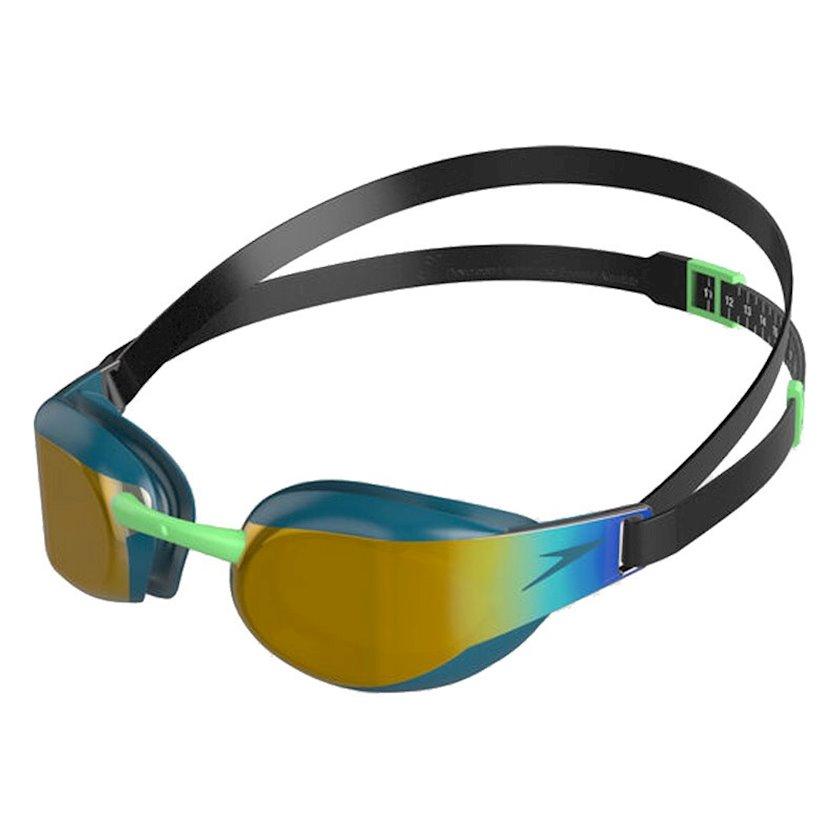 Üzgüçülük üçün eynək Speedo Fastskin Elite Mirror Goggle, uniseks, qara/göy/qızılı