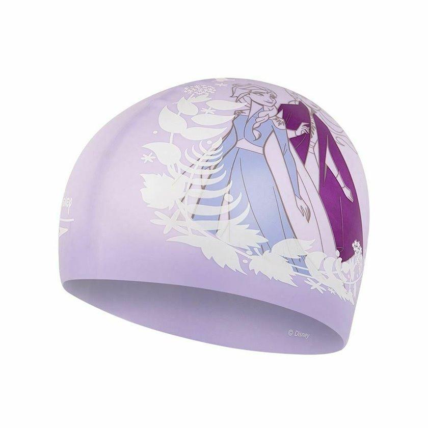 Üzgüçülük üçün papaq Speedo Junior Frozen II Slogan Print Cap Silicone Swimming Hat, uşaqlar üçün, bənövşəyi, universal ölçü