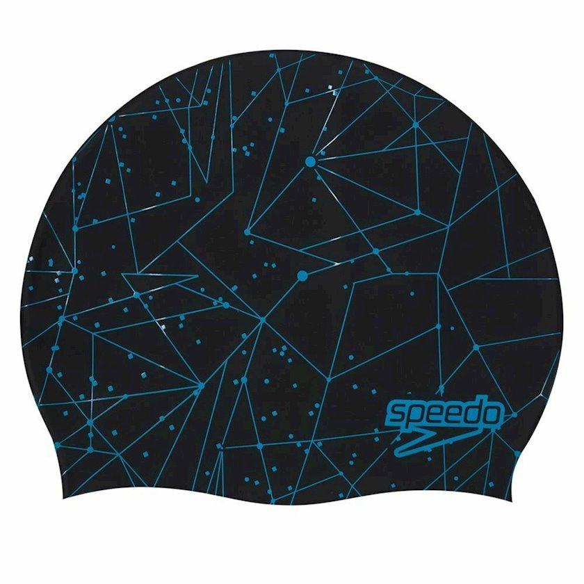 Üzgüçülük üçün papaq Speedo Adult Swimming Hat Slogan Print Cap, uniseks, qara/göy, universal ölçü