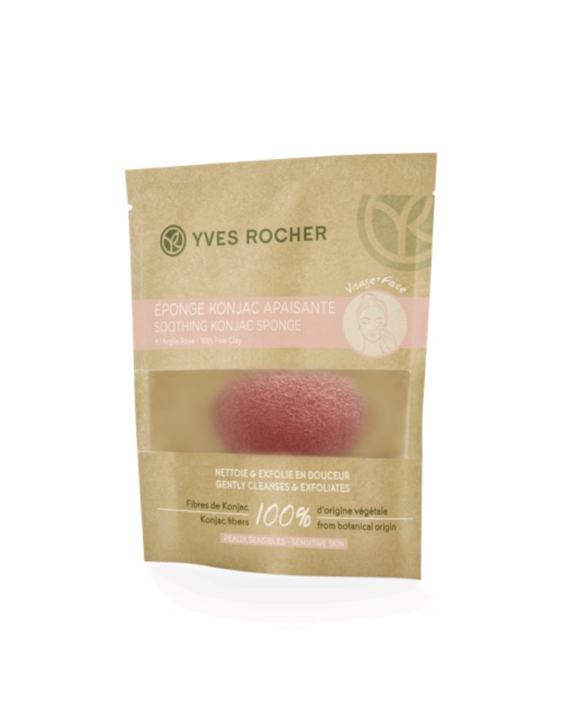 Sakitləşdirici süngər Yves Rocher Soothing Konjac Sponge with Pink Clay - Sensitive Skin