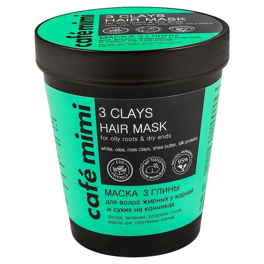 Saç üçün maska gil ilə Café mimi yağlı baş dərisi və quru uclar üçün 220 ml