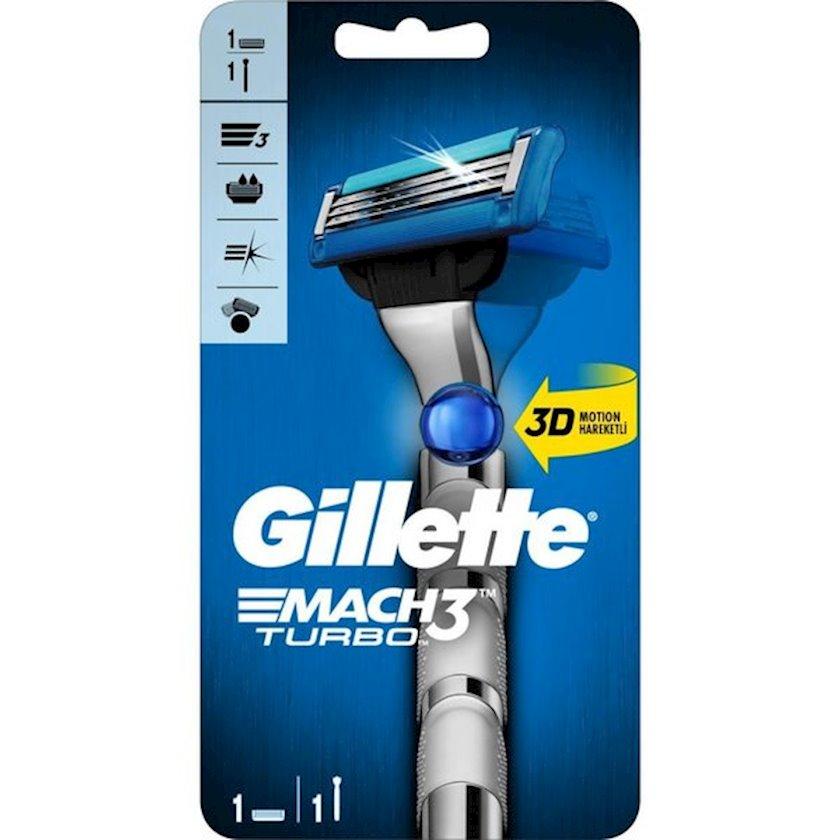 Təraş üçün ülgüc Gillette Mach 3 Turbo 3D 1 dəyişkən kasetlə