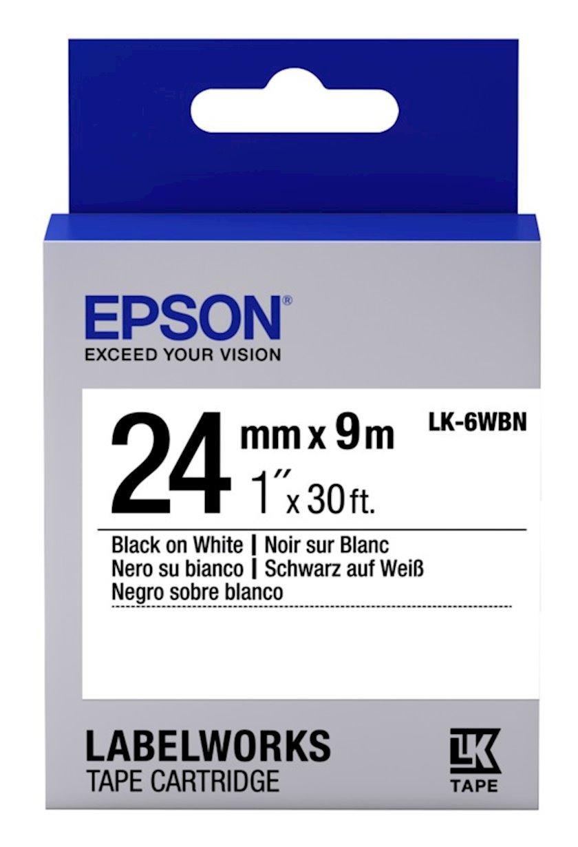 Lent Epson Tape - LK6WBN Std Black/White 24/9