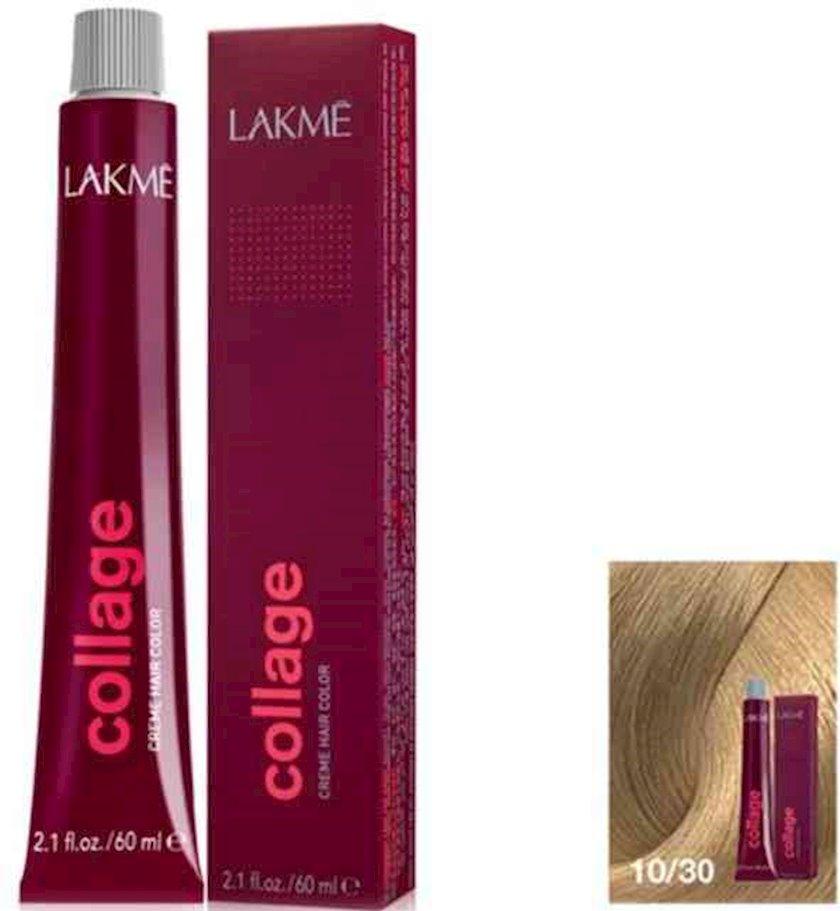 Saç krem-boyası Lakme Collage Creme Hair Color 10/30 Çox açıq sarışın qızılı
