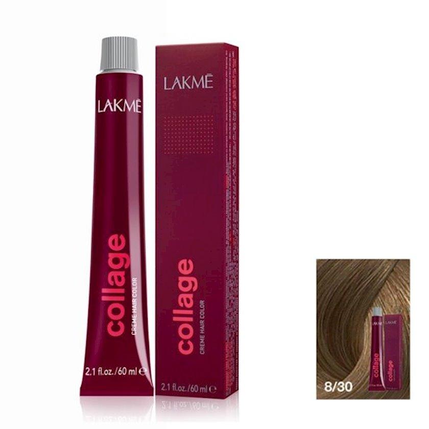 Saç krem-boyası Lakme Collage Creme Hair Color 8/30 Sarışın qızılı