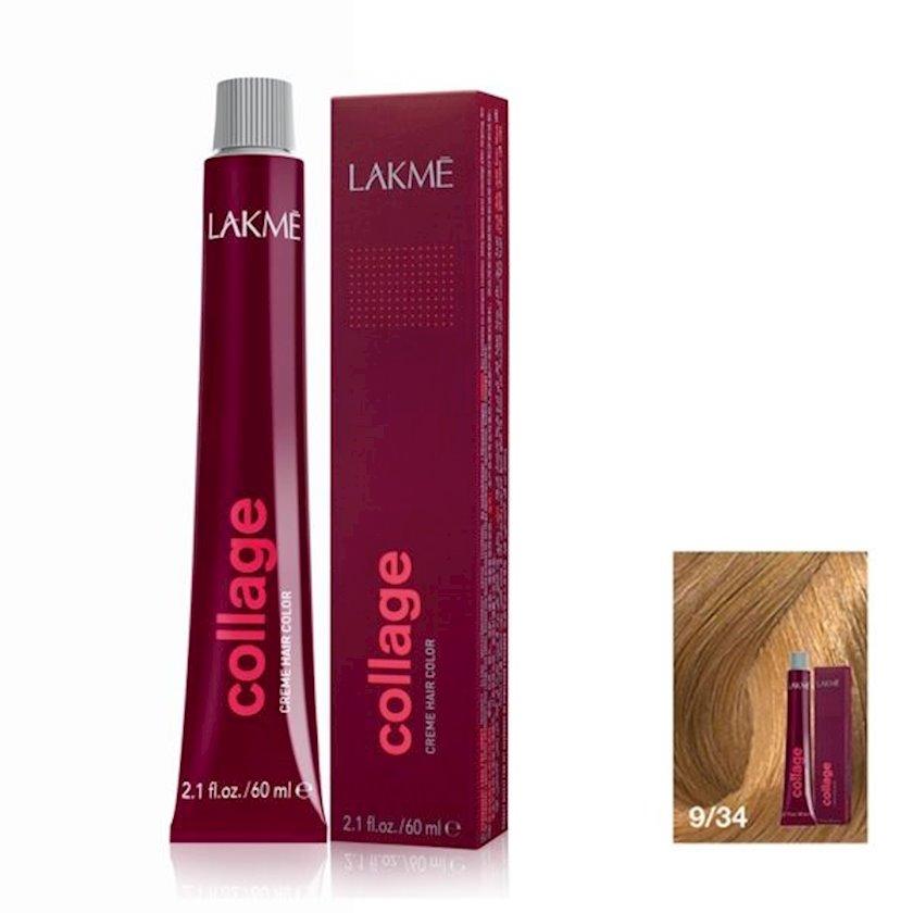 Saç krem-boyası Lakme Collage Creme Hair Color 9/34 Açıq sarışın qızılı mis