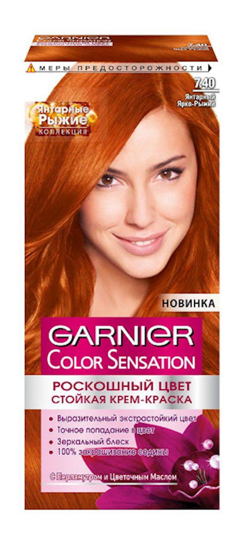 Davamlı qidlandırıcı krem-boya Garnier Color Sensation 7.40 Кəhrəba parlaq kürən 100 ml