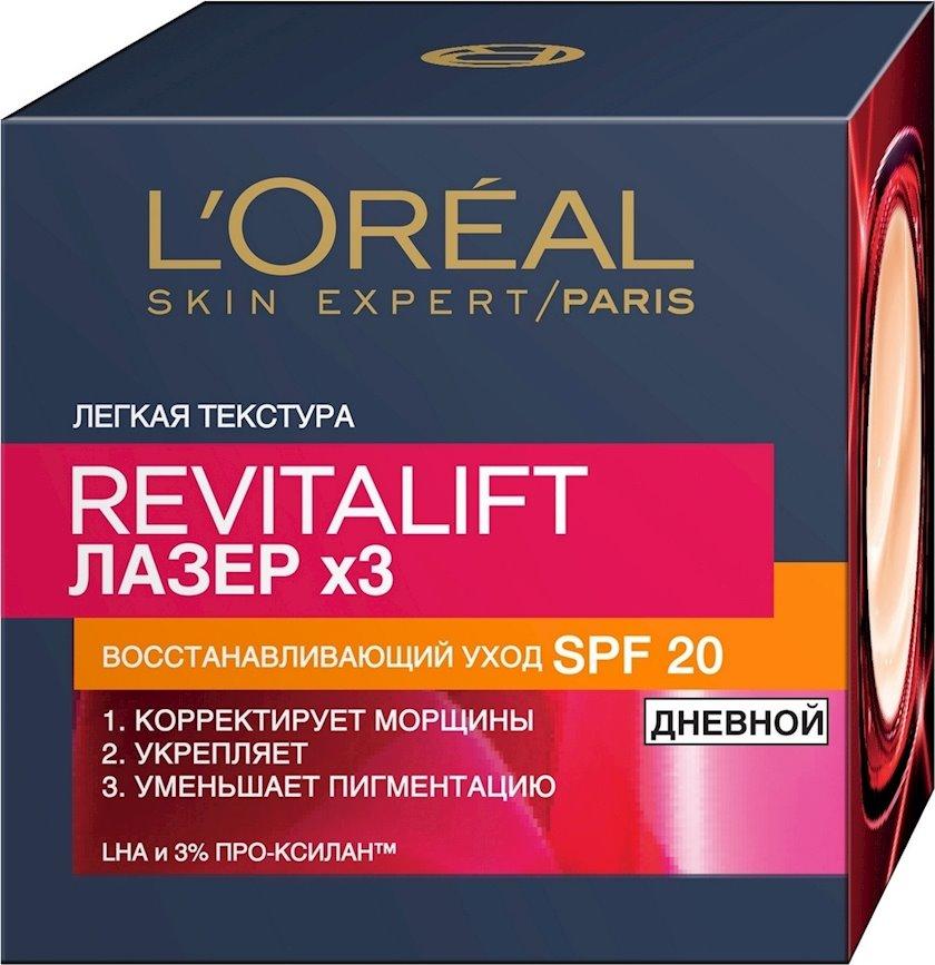"""Üz üçün gündüz kremi L'Oreal Paris """"Revitalift Lazer"""" , qırışa qarşı, SPF 20, bərpaedici, 50 ml"""