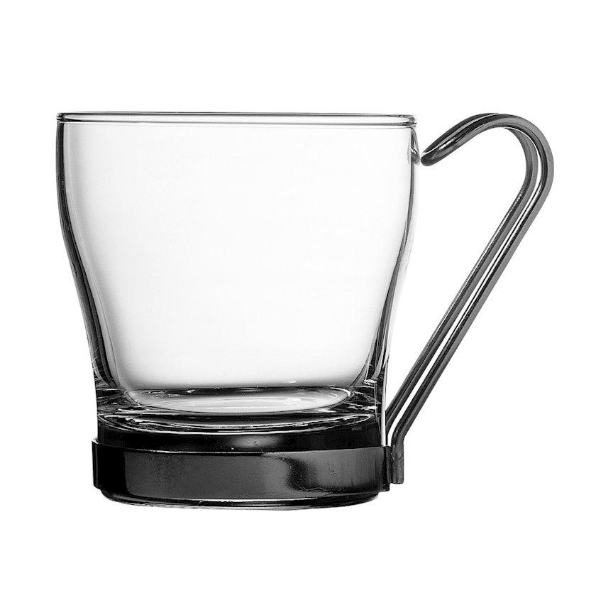 Metal qulplu çay fincanı Pasabahce 42665 Chroma, 2 ədəd, şüşə, 210 ml