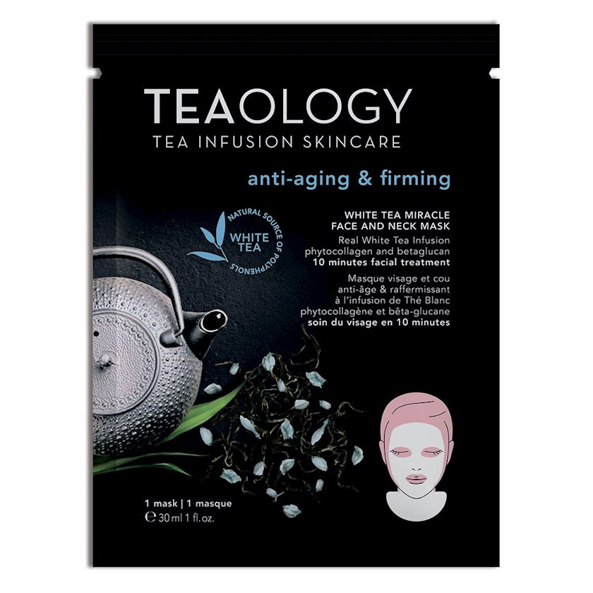 Üz və boyun üçün parça maska Teaology White Tea Miracle