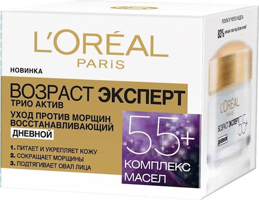 Yaş mütəxəssis Trio Active 55+ Qırışlara qarşı qulluq canlandırıcı gündüz kremi L'Oréal Paris 50 ml