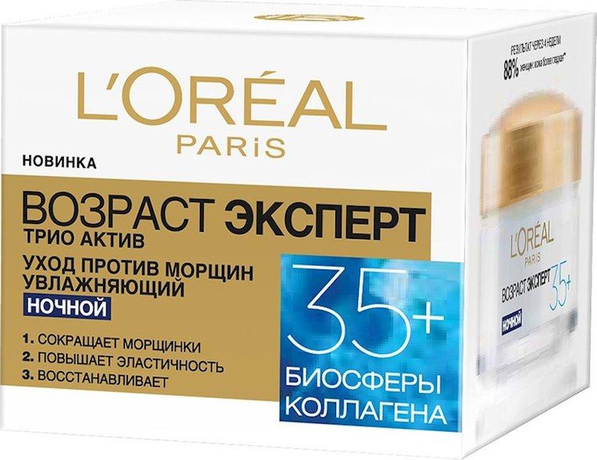 Gecə kremi L'Oréal Paris Trio Active 35+ Yaş mütəxəssisi qırışlara qarşı nəmləndirici 50 ml
