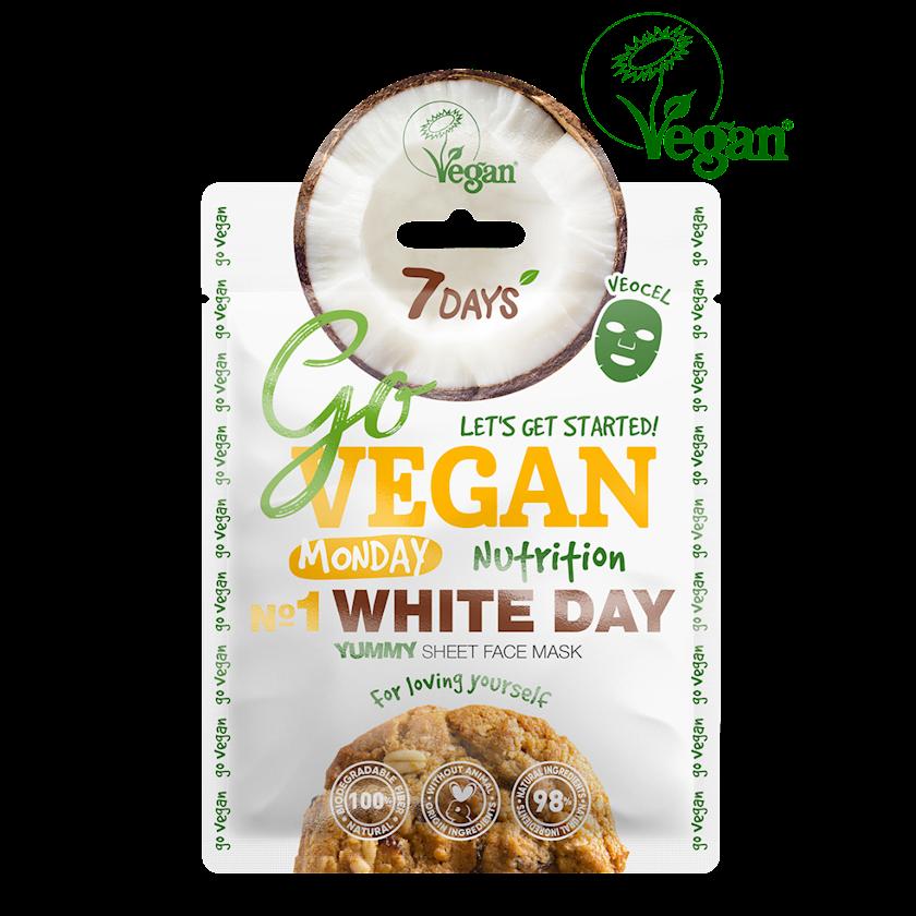 Üz üçün parça maska 7 Days Go Vegan Monday White Day Yummy Özlərini sevənlər üçün