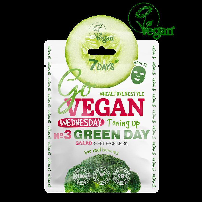 Üz üçün parça maska 7 Days Go Vegan Wednesday Green Day Salad Həqiqi dovşanlar üçün