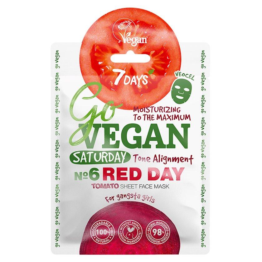 Üz üçün parça maska 7 Days Go Vegan Saturday Red Day Tomato Qanqsta-senyoritalar üçün