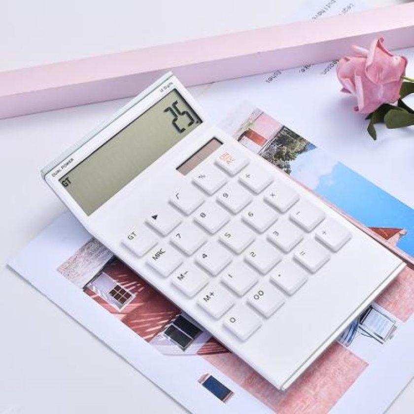 Kalkulyator Ximivogue Abs Premium, 12 simvollu böyük ekran, günəş enerjisi və batareya, plastik, ağ, 18.1x10.5x20.2 sm, 116.9 q