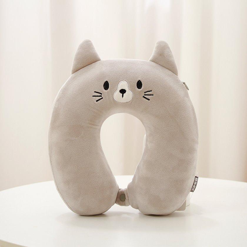 U şəkilli boyun yastığı Хimivogue Gray Cat Foam (small), boz, 260x260x80 mm, poliester