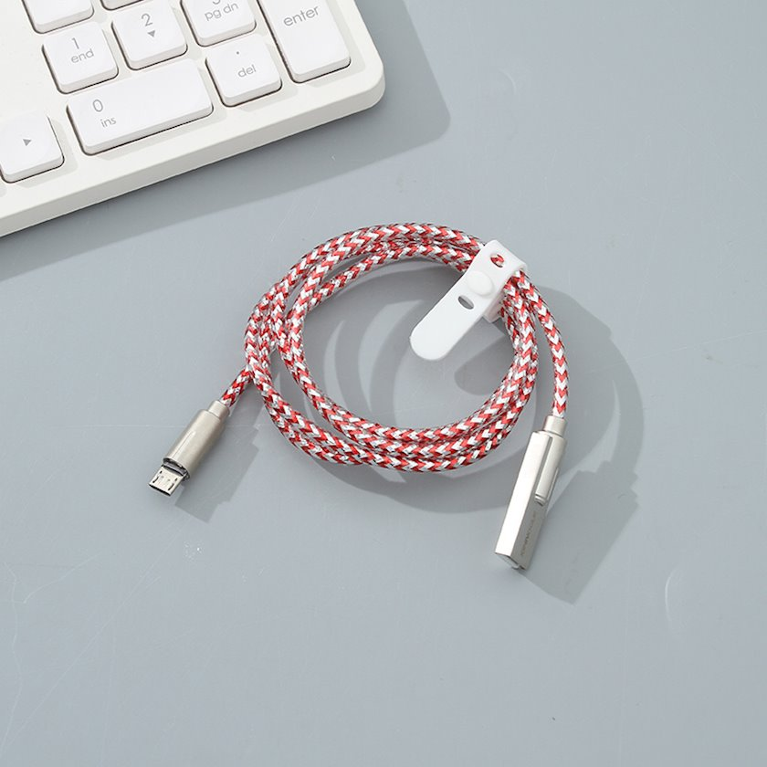 Kabel Ximivogue Aluminum Foil Braided Type-C Cable Silver and Red 1m