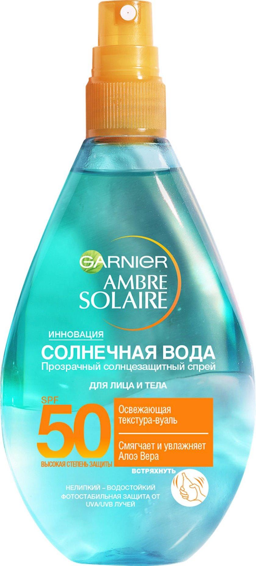Günəşdən qoruyucu bədən spreyi Garnier Ambre Solaire günəş suyu, təravətləndirən SPF 50, 150 ml