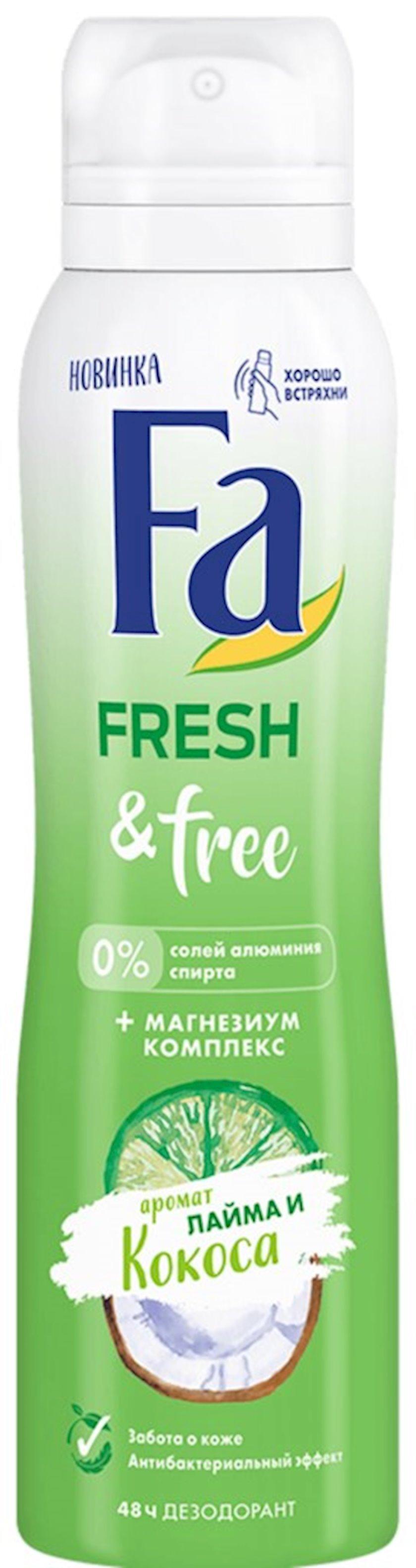 Dezodorant-sprey Fa Fresh and Free laym və kokos ətri