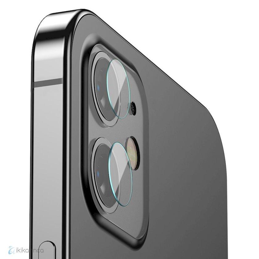 Qoruyucu şüşə kamera Baseus Reinforced Lens Tempered Glass Camera Protector iPhone 12/iPhone 12 Mini üçün