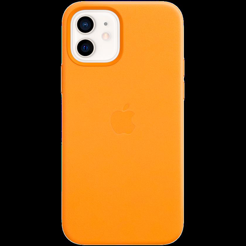 Çexol Leather Apple iPhone 12/12 Pro üçün  Leather Case with MagSafe California Poppy