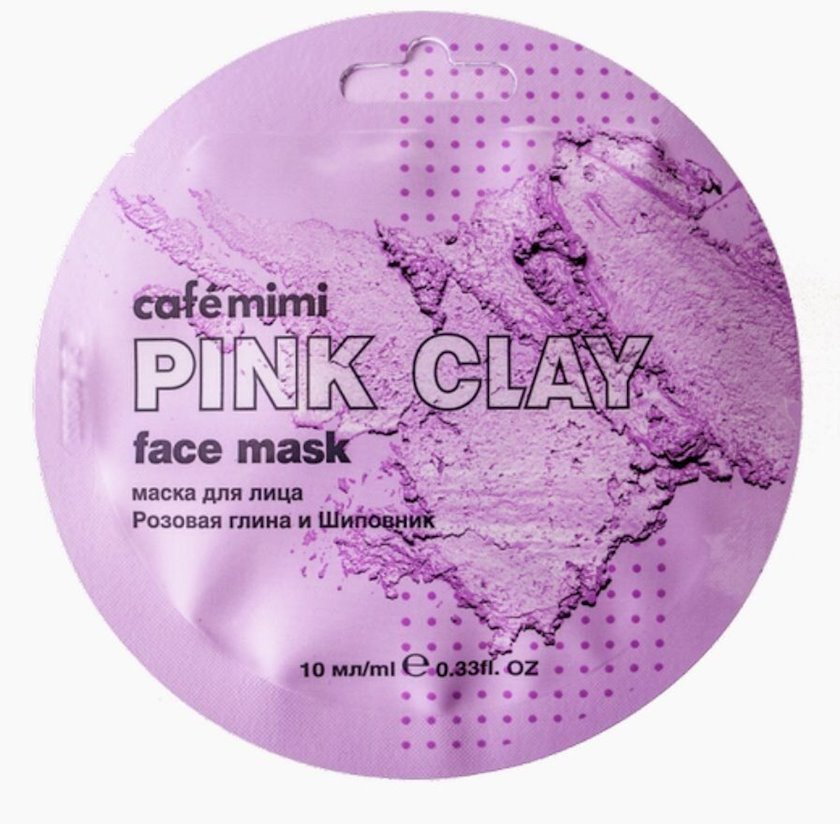 Üz maskası Cafe mimi Pink Clay Çəhrayı gil və itburnu 10 ml