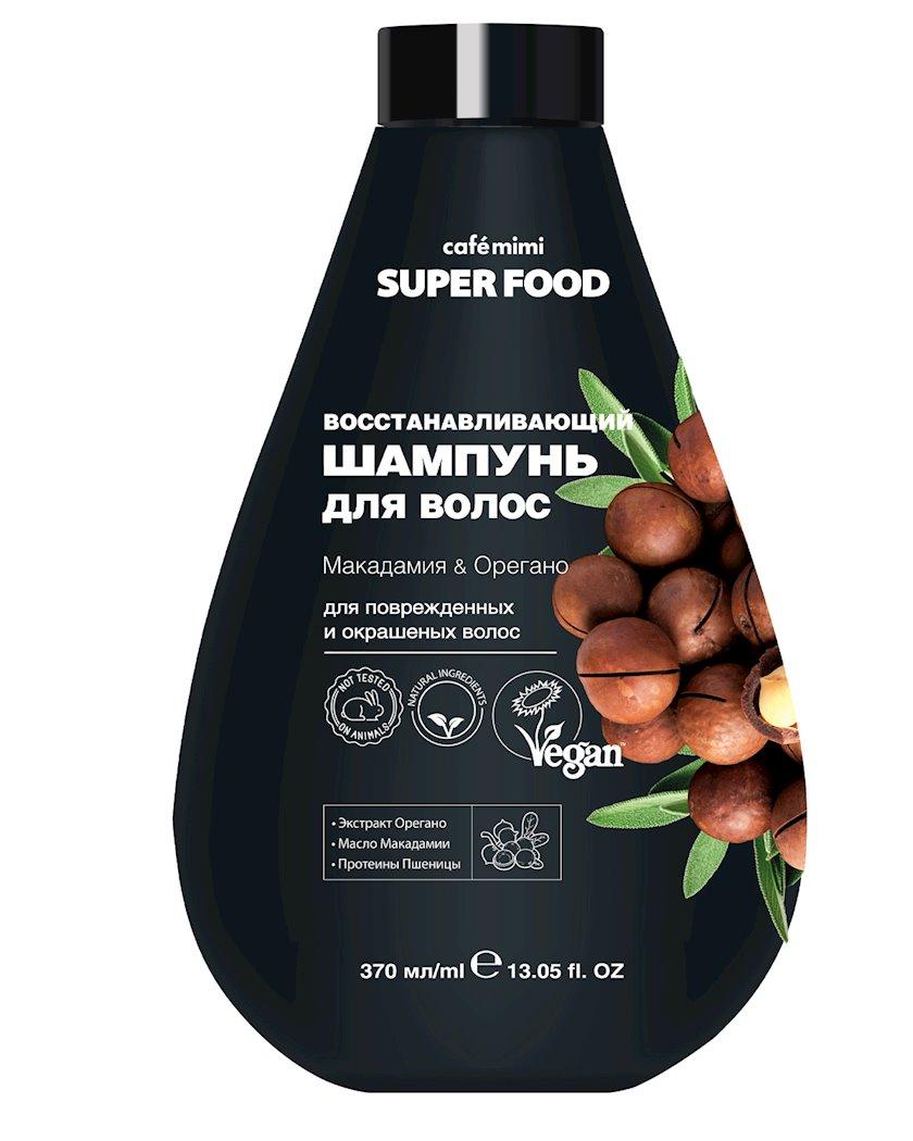 Şampun saçlar üçün Cafe mimi Super Food Bərpaedici Makadamiya və Oregano 370 ml
