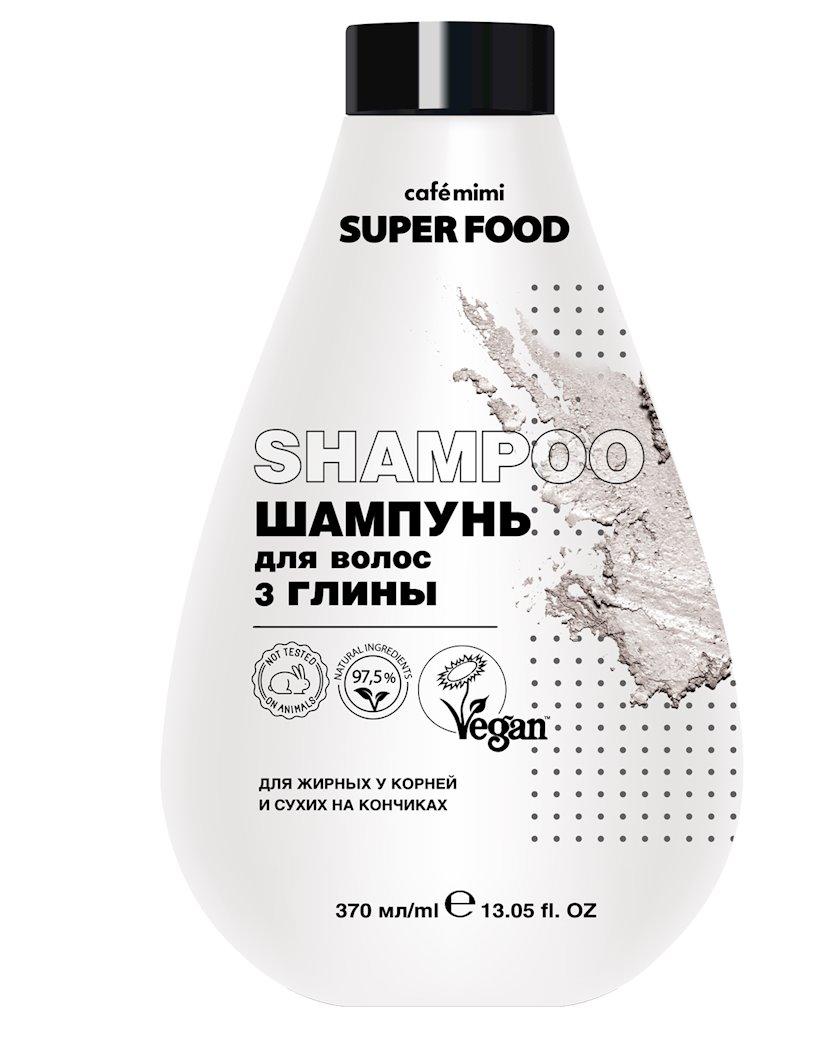 Şampun saçlar üçün Cafe mimi Super Food 3 gil kökdə yağlı ucda quru üçün 370 ml