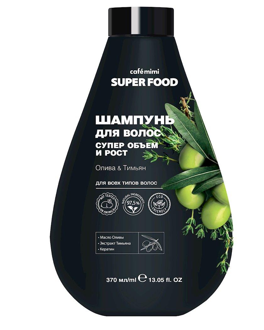 Şampun saçlar üçün Cafe mimi Super Food Super Həcm və Uzanma Zeytun və Kəklikotu 370 ml