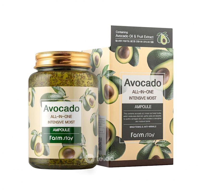 Çoxfunksiyalı ampulalı zərdab üz üçün FarmStay Avocado All-in-one Intensive Moist Ampoule avokado ekstraktı ilə 250 ml