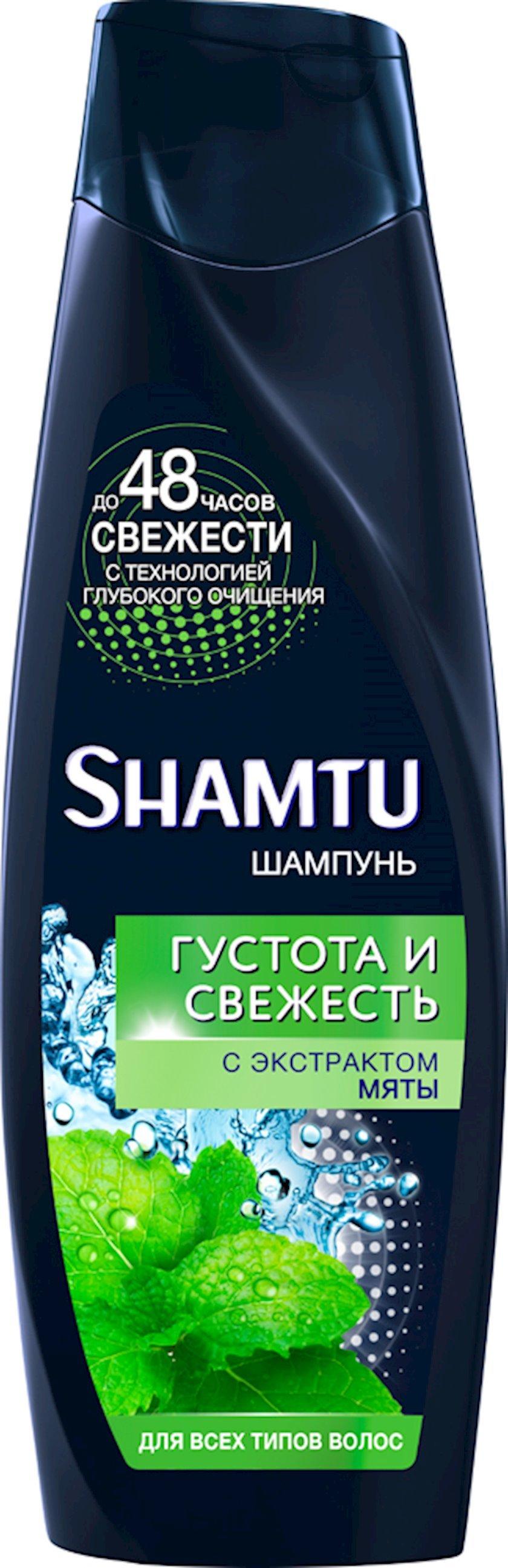 Şampun 100% kişilər üçün mentol təravətin həcmi, bütün saç tipləri üçün Shamtu 360 ml