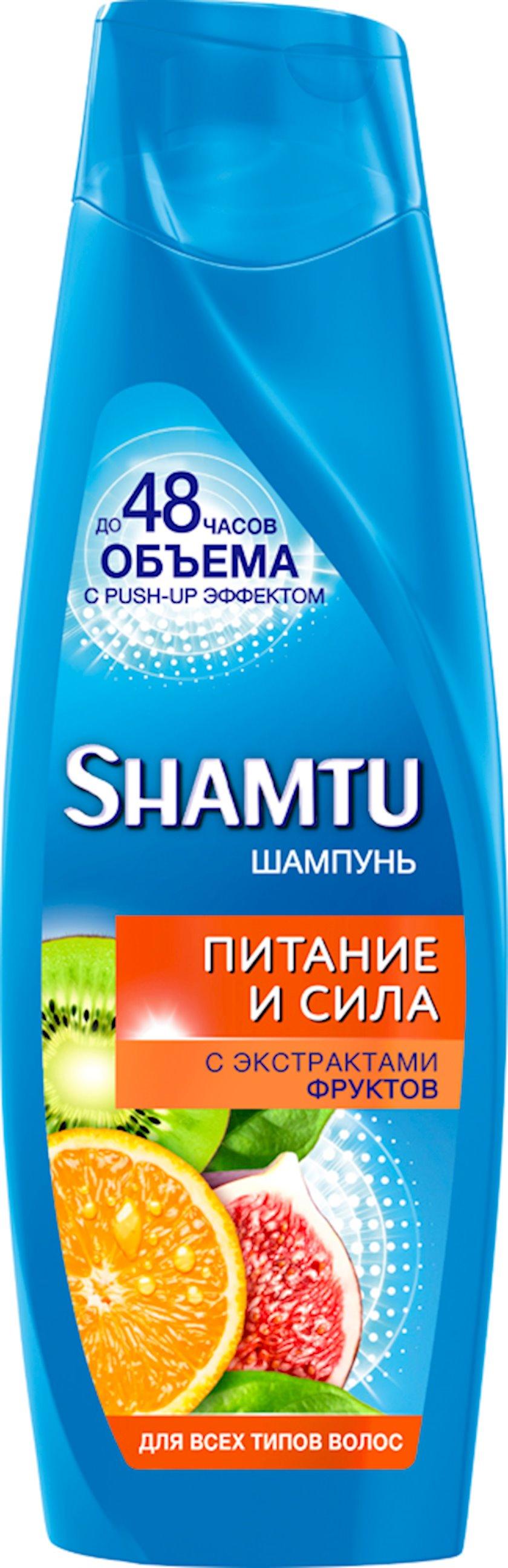 Şampun 100% həcmi, meyvə ekstraktları ilə, bütün saç tipləri üçün Shamtu 360 ml