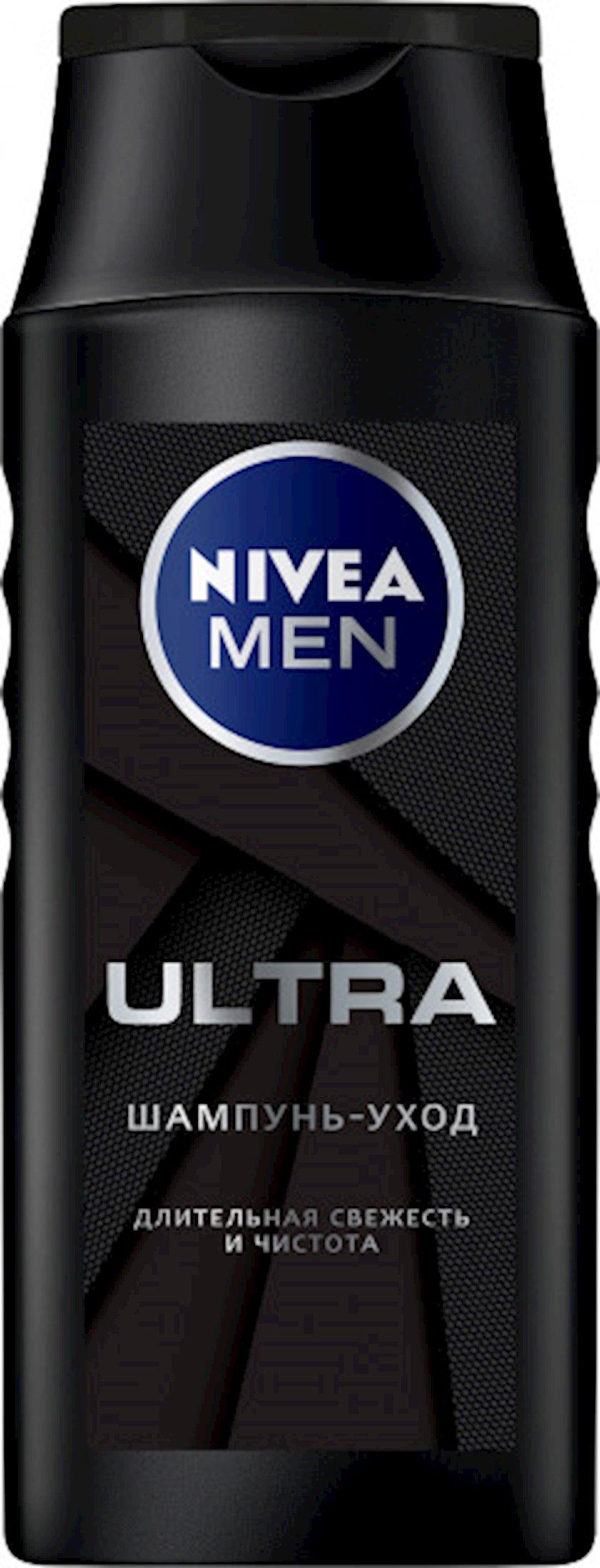 Şampun aktiv kömür ilə uzunmüddətli təravət və təmizlik Men Ultra Nivea 250 ml