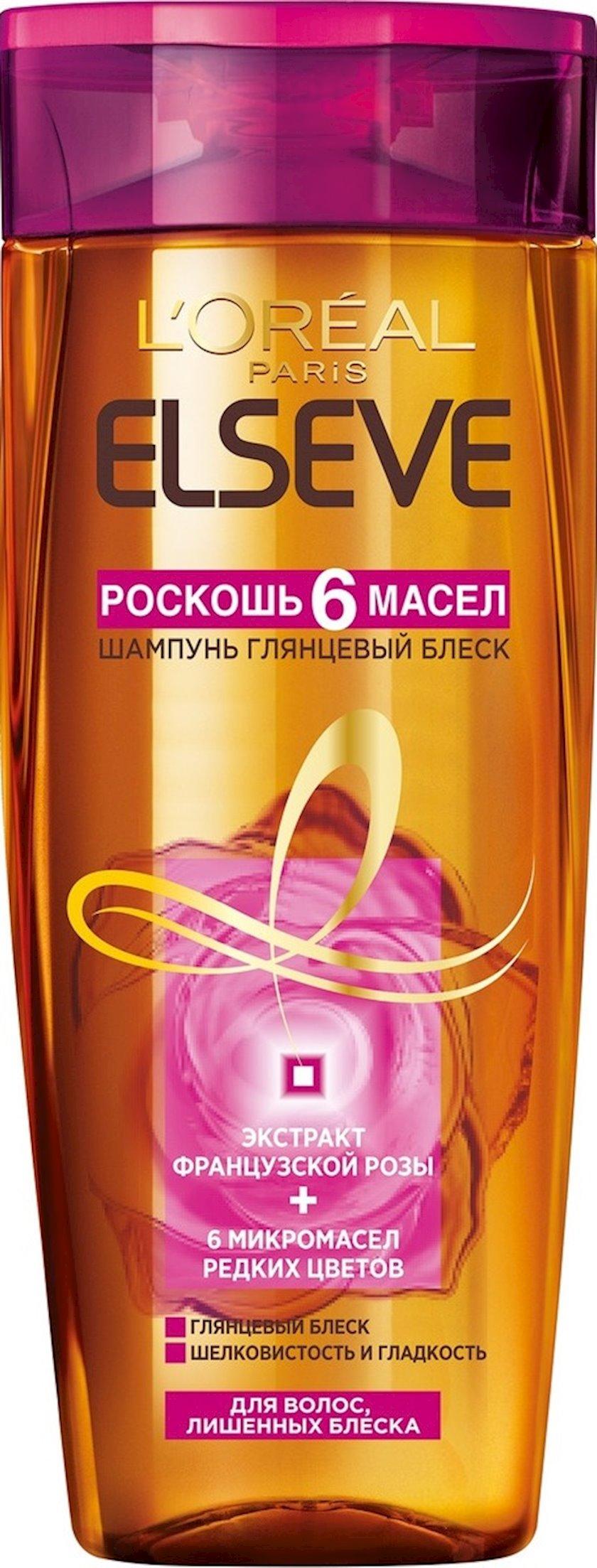 Şampun L'Oreal Elseve 6 yağ dəbdəbəsi və Parlaq parıltı, 250 ml