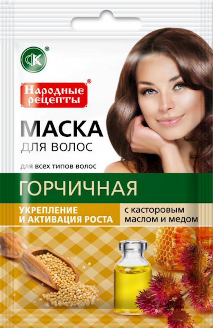 Saç maskası Фитокосметик Xardallı kastor yağı və bal ilə 30 ml