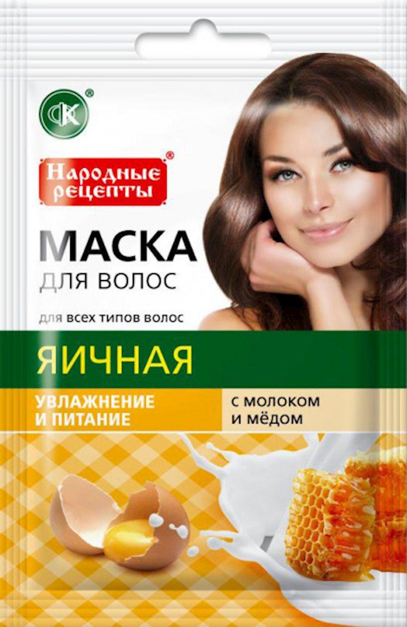 Saç maskası Фитокосметик Yumurta, süd və bal ilə 30 ml