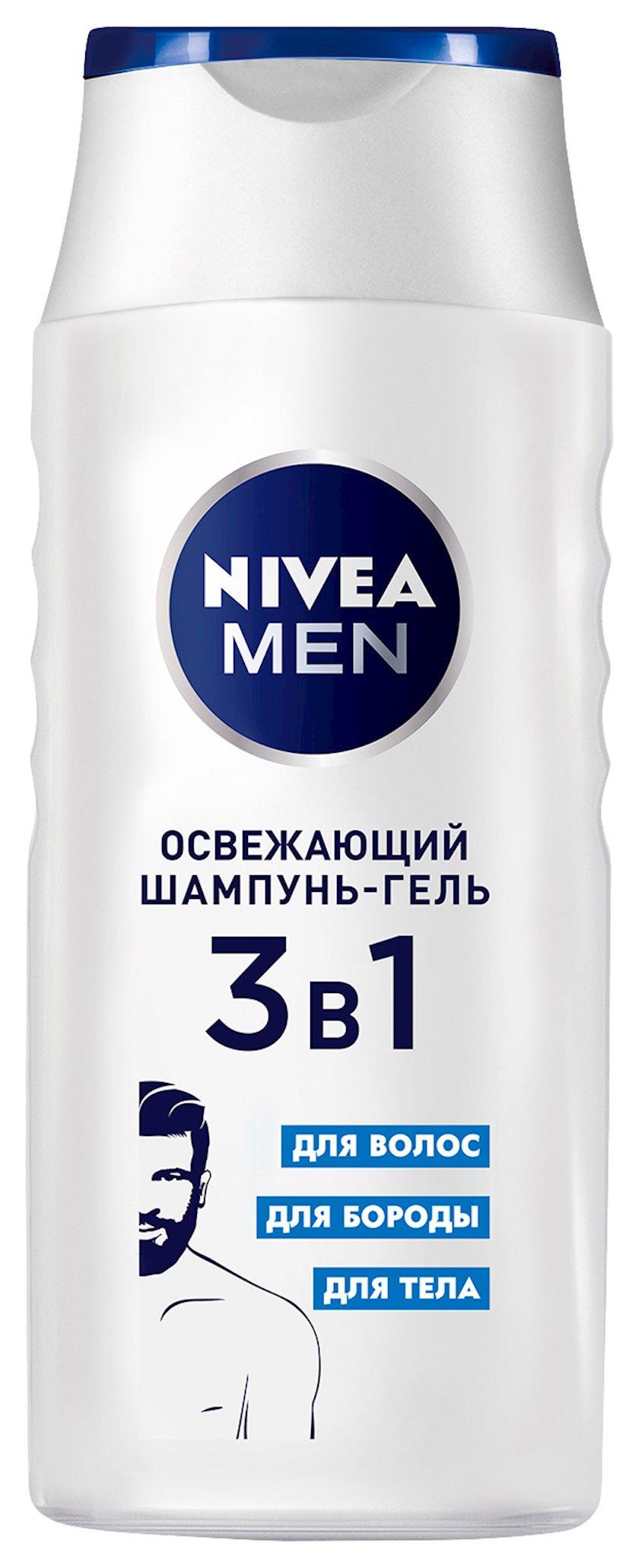 Şampun-gel Nivea 3-ü 1-də Təravətləndirici saç, saqqal və bədən üçün 250 ml
