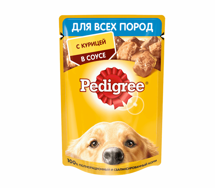 Влажный корм Pedigree для взрослых собак c курицей в соусе 85 г - купить в  Баку. Цена, обзор, отзывы, продажа