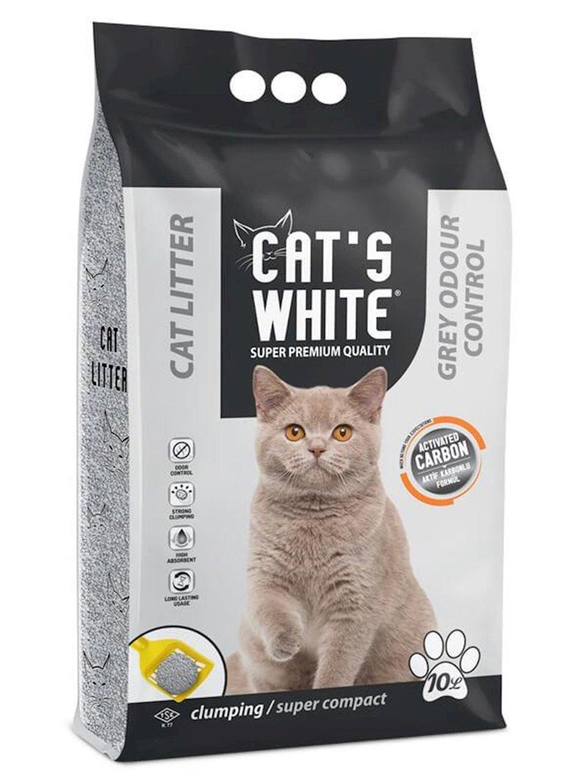 Topalaşan doldurucu pişiklər üçün Cat's White Aktivləşdirilmiş kömür ilə 10 kq